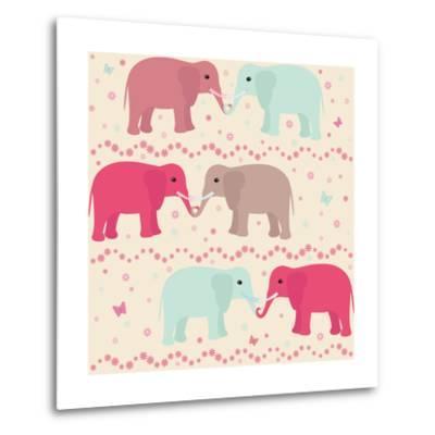 Romantic Seamless Pattern with Elephants-elein-Metal Print