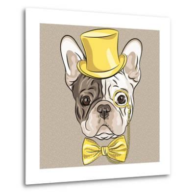 Vector Funny Cartoon Hipster French Bulldog Dog-kavalenkava volha-Metal Print