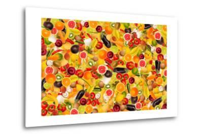 Different Types Of Fruit And Vegetables As Background, Colorful- pasiphae-Metal Print