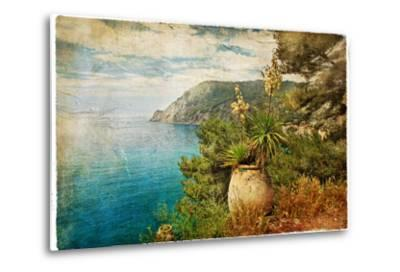 Picturesue Italian Coast - Artwork In Retro Painting Style-Maugli-l-Metal Print