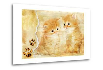 Vintage Background With Paper Border And Kittens Picture-Maugli-l-Metal Print