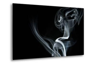 White Smoke Rising On Black Background-Ambient Ideas-Metal Print