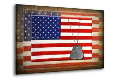 Military Dog Tags On American Flags-14ktgold-Metal Print
