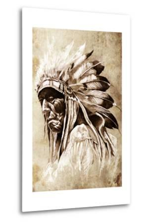 Sketch Of Tattoo Art, Indian Head, Chief, Vintage Style-outsiderzone-Metal Print