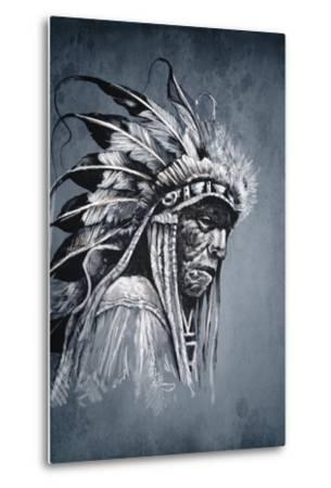 Native American Indian Head, Chief, Vintage Style-outsiderzone-Metal Print