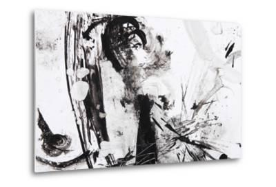 Black And White Abstract Brush Painting-shooarts-Metal Print