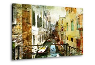 Pictorial Venetian Streets - Artwork In Painting Style-Maugli-l-Metal Print