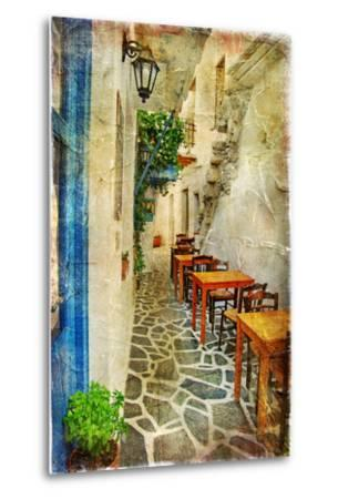 Traditional Greek Tavernas - Artwork In Painting Style-Maugli-l-Metal Print