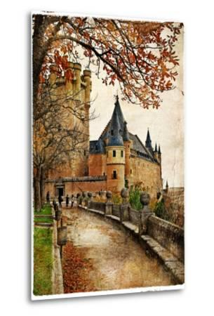 Alcazar Castle - Medieval Spain Painted Style Series-Maugli-l-Metal Print