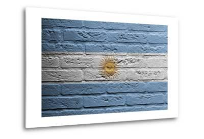 Brick Wall With A Painting Of A Flag, Argentina-Micha Klootwijk-Metal Print