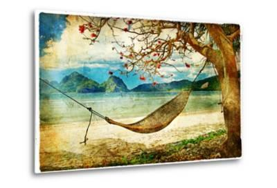 Tropical Scene- Artwork In Painting Style-Maugli-l-Metal Print