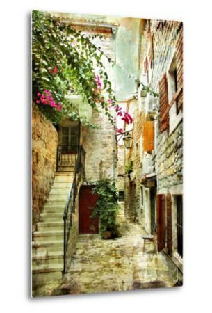Courtyard Of Old Croatia - Picture In Painting Style-Maugli-l-Metal Print