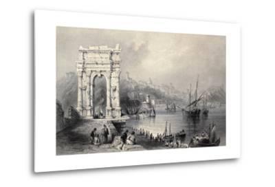 Antique Illustration Of Arco Di Traiano In Ancona, Italy-marzolino-Metal Print