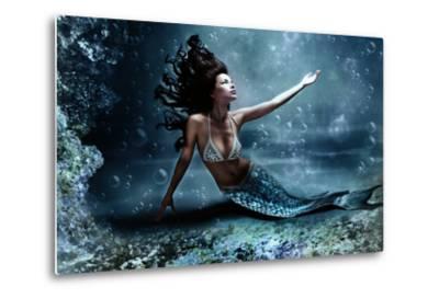 Mythology Being, Mermaid In Underwater Scene, Photo Compilation-coka-Metal Print