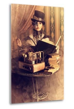Portrait Of A Beautiful Steampunk Woman Over Vintage Background-prometeus-Metal Print