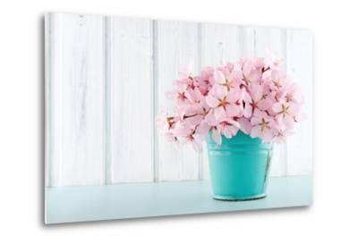 Cherry Blossom Flower Bouquet on Wooden Background-Anna-Mari West-Metal Print