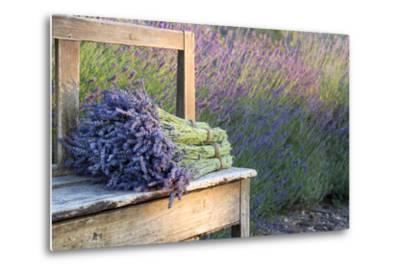 Bouquets on Lavenders on a Wooden Old Bench-Anna-Mari West-Metal Print