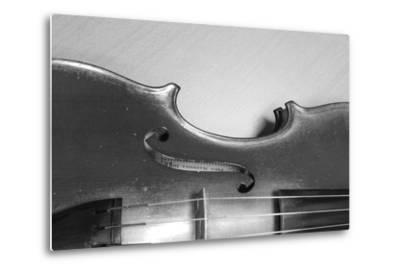 Black White Violin-ammza12-Metal Print