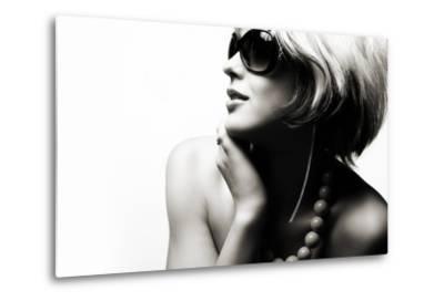 Fashion Woman Portrait Wearing Sunglasses On White Background- alial-Metal Print