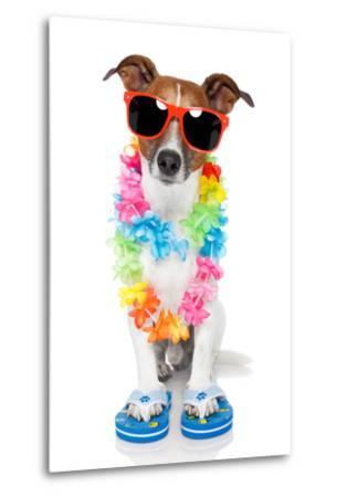 Tourist Dog With Hawaiian Lei And Shades-Javier Brosch-Metal Print