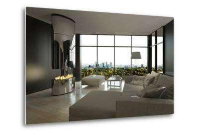 Living Room Interior with Open Fireplace and Floor to Ceiling Windows-PlusONE-Metal Print