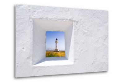 Formentera Mediterranean White Window with Barbaria Lighthouse-holbox-Metal Print