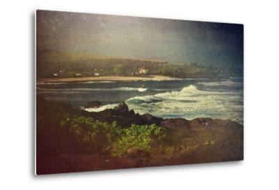 Surfer on a Waverunner in the Water at Hookipa Beach in Maui with the West Maui Mountains-pdb1-Metal Print