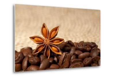 Coffee And Star Anise On Sackcloth Background With Copyspace-wasja-Metal Print