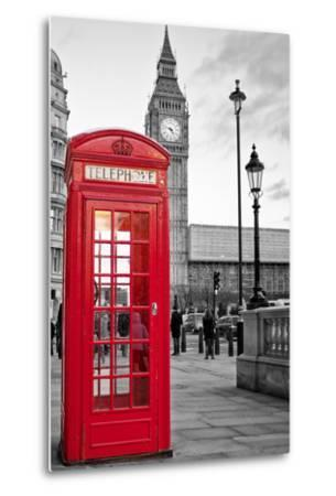 A Traditional Red Phone Booth In London With The Big Ben In A Black And White Background-Kamira-Metal Print