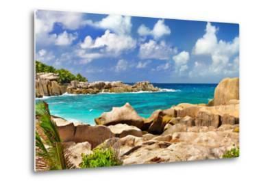 Amazing Seychelles With Unique Granite Rocks-Maugli-l-Metal Print