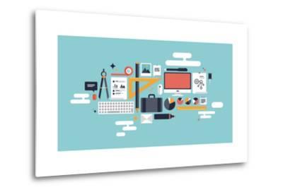 Illustration of Business Working Elements-bloomua-Metal Print