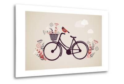Vintage Retro Bicycle Background with Flowers and Bird-Marish-Metal Print