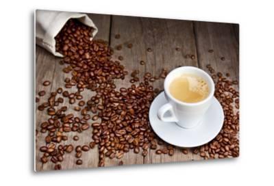 Coffee Cup With Beans-Valengilda-Metal Print