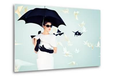 Art Fashion Photo of a Gorgeous Woman in Paper Dress-prometeus-Metal Print
