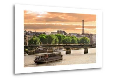 Cruise Ship On The Seine River In Paris, France-rglinsky-Metal Print