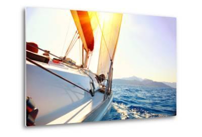 Yacht Sailing Against Sunset. Sailboat. Yachting. Sailing. Travel Concept. Vacation-Subbotina Anna-Metal Print