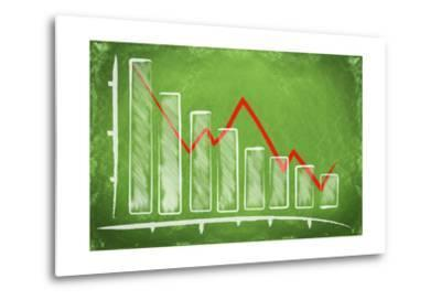 Declining Bar Chart Drawn on a Green Chalkboard-Viorel Sima-Metal Print