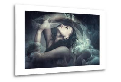 Fairy Like Fantasy Woman With Veil-coka-Metal Print