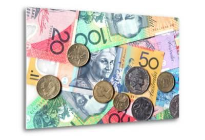 Full-Frame of Australian Notes and Coins-Robyn Mackenzie-Metal Print