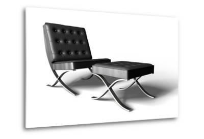 Barcelona Chair On White- cgtoolbox-Metal Print