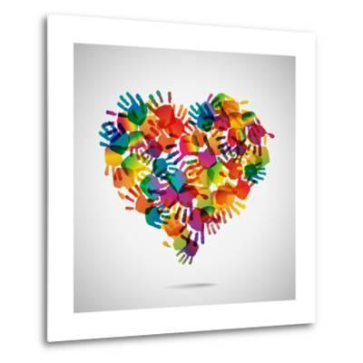 Colored Heart From Hand Print Icons-strejman-Metal Print