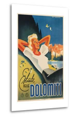 Travel Poster for the Italian Dolomites-Franz Lenhart-Metal Print