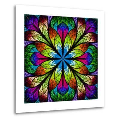 Multicolor Beautiful Fractal Flower. Computer Generated Graphics-velirina-Metal Print