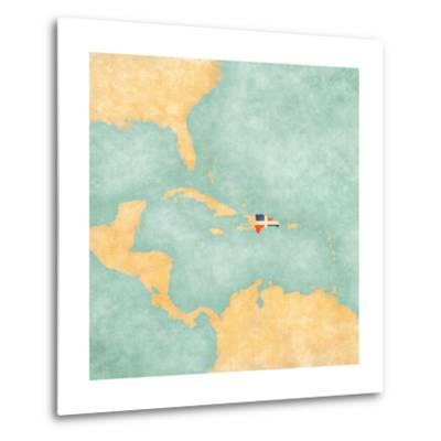 Map Of Caribbean - Dominican Republic (Vintage Series)-Tindo-Metal Print