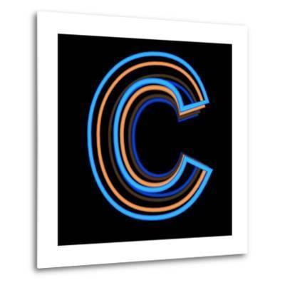 Glowing Letter C Isolated On Black Background-Andriy Zholudyev-Metal Print