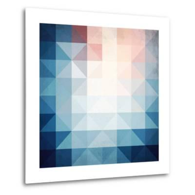 Abstract Blue Triangles Geometry-art_of_sun-Metal Print