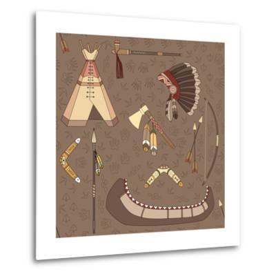 Seamless Indian Pattern-destra-Metal Print