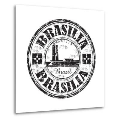 Brasilia Grunge Rubber Stamp-oxlock-Metal Print