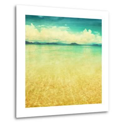 View Of The Sea In Grunge And Retro Style-Elenamiv-Metal Print