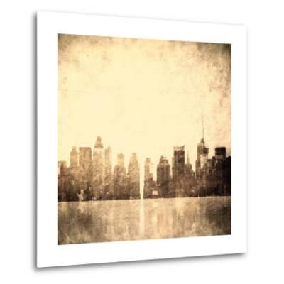 Grunge Image Of New York Skyline-javarman-Metal Print